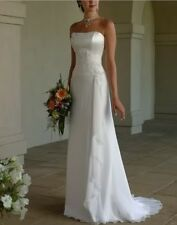 Elegant White Lace-up Sleeveless Wedding Dress Bridal Gown  Size 6 8 10 12 14 16