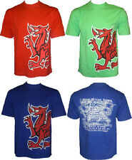 MENS WELSH NATIONAL ANTHEM PRINTED T-SHIRT TOP 3 COLOURS RRP £19.99