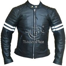 Cafe Racer Style Retro Motorcycle Cowhide Leather Jacket with White Stripes