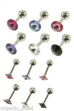 TRAGUS BIG 5mm CZ GEM 316L Steel 1.2mm 6mm bar 12 colours Helix snug conch Ear