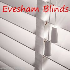 MADE TO MEASURE 50MM PURE WHITE WOODEN VENETIAN BLIND WITH TAPES
