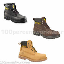 CAT Caterpillar HOLTON Mens Leather Safety Work Boots Shoes Steel Toe Cap SB SRA