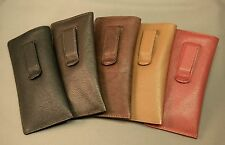 Eyeglass / Glasses Case with CLIP - Premium top grain leather - NEW