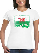 Ladies Wales T Shirt Shabby Welsh Flag Cadwaladr Dragon Cymru Football Rugby