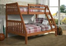 Twin over Full Bunk Bed - Cinnamon Finish Bunkbed - FREE Shipping