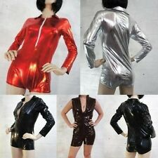 Body Suit Jumpsuit Red/Black/Silver Sexy Costume Superhero Wet Look Romper New