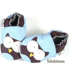 tula2shoes SOFT LEATHER BABY BOYS FIRST/PRAM SHOES SLIPPERS OWL 0-6-12-18-24 M