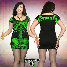 KREEPSVILLE 666 - GREEN SKELETON TUNIC DRESS, ZOMBIE, HORROR, PSYCHOBILLY, PUNK