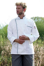 Versailles Chef Coat White W/ Shepherd Check Trim or Black Piping, XSto6XL 453EC