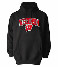 WISCONSIN BADGERS GREY ADULT EMBROIDERED HOODED SWEATSHIRT NEW