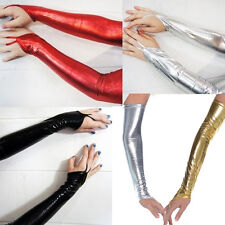 New Glam Punk Goth Wet Look Shiny Metallic Fingerless Gloves Clubwear / Costume