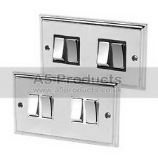 Light Switch 4 Gang Polished Mirror Chrome Victorian 10 Amp 4 Gang 2 Way