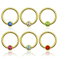 One Gold Plated Captive Bead Lip Rings with Dimple Gem set Ball