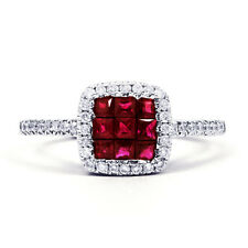 Brand New 18K White Gold Ruby and Diamond Engagement Ring 1mm Pave G VS