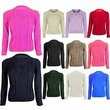 Ladies Cable Knitted Crew Round Neck Crop Long Sleeve Womens Jumper Sweater 8-14