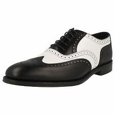 MENS LOAKE BLACK AND WHITE LEATHER LACE UP BROGUE FORMAL SHOES - SLOANE