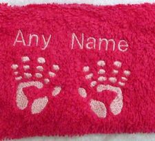 Personalised Baby Hands Towel Sets Name 100% Cotton Embroidered Christening