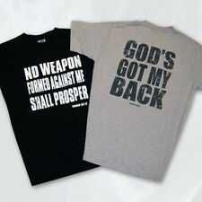 "Christian Message T-Shirt ""God's Got My Back"" ""No Weapon Formed Against..."" New!"