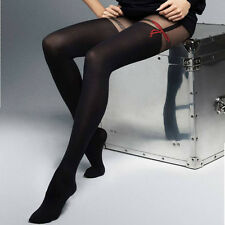 "Black Mock Suspender Tights with Red Ribbon  ""Mascarade"" - 20 / 60 Denier"