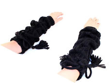 Winter Braided Knit Arm Warmer Fingerless Gloves With Ribbon A1001