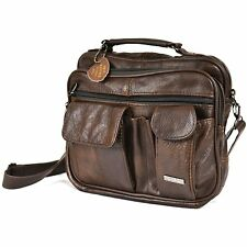 New Mens Leather Manbag Business Travel Shoulder Bag Womens Handbag Black Brown