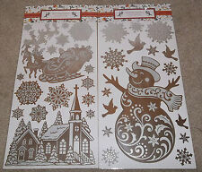 CHRISTMAS DECORATION WALL STICKERS SANTA SLEIGH SNOWMAN SNOWFLAKE REINDEER SNOW