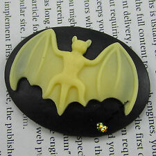 free shipping 3pcs resin cabochons cameos bat jewelry earring findings 40x30mm