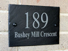 Personalised House Name Plate Rustic Slate Any Name & Or Number  Combo
