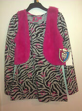 MONSTER HIGH (NWT) Long Sleeve Gray Tunic & Animal Print w Pink Faux Fur Vest