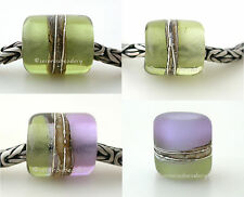 MOJITO GREEN APPLE LAVENDER * FINE SILVER EUROPEAN CHARM lampwork glass bead
