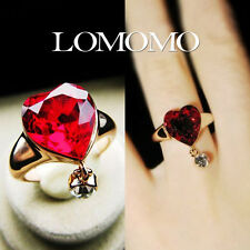 Heart Ruby Swarovski Crystal Cocktail Ring w/ A Pendant,18K Rose Gold Plated,R6