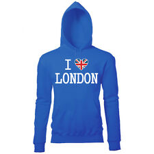ULTIMATE I LOVE LONDON WOMENS UNION JACK HEART BRITISH PRINTED HOODIE