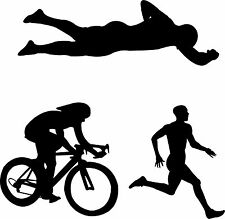 Triathlon Vinyl Wall Art Sticker Present Gift Sport Iron Man Competitor Club