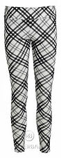 NEW WOMENS STRIPE CHECK MONOCHROME BLACK AND WHITE LEGGINGS