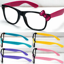 New Wayfarer Clear Lens Frame Glasses Bow Bowknot Womens Hello Kitty Style Nerd