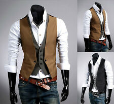 2015 Stylish Men's Double layered Vest Waistcoat Button Chained Vest Jacket Tops