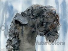 BLUE BLAZES Kerry Terrier Dog Art Print Watercolor Painting Judith Stein Signed
