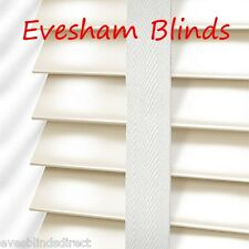 PREMIUM MADE TO MEASURE CREAM WOODEN VENETIAN BLIND 50MM WITH TAPES REAL WOOD