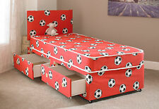 3FT boys single divan bed with mattress and headboard football bed RED FOOTBALL