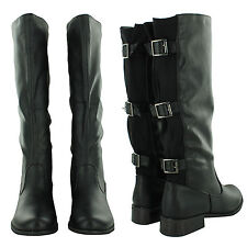 NEW LADIES STYLISH BUCKLED KNEE HIGH BOOTS WELLIES SNOW FESTIVALS HIKING WALKING