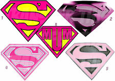 SUPERMAN / GIRL WOMAN MUM LOGO IRON ON T-SHIRT FABRIC HEAT TRANSFER OR STICKER