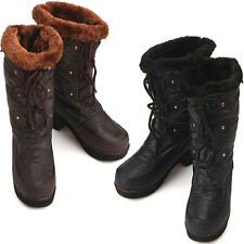 New Womens Casual Black Brown Winter Snow Warm Heels Mid-Calf Boots Shoes