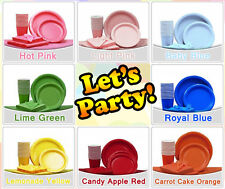 Variety Sets of Solid Color Partyware Paper Plates Napkins Cups Plastic Cutlery