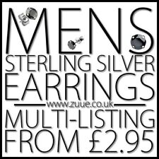 MENS STERLING SILVER STUD EARRINGS MULTI LISTING CRUCIFIX ROUND SQUARE CROSS
