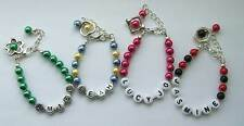 Personalised Glass Pearl Bead Bracelet-choice of colour,bead frame,letters