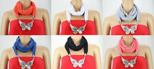 Fashion Women Butterfly Jewelry Scarf Decoration  Pendant Necklace With Magnet