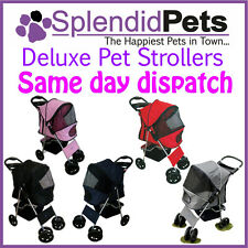 Big 4 Wheel Pet Dog Cat Stroller Puppy Pram Pushchair - Pink Blue Black Grey Red