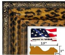 Leopard Gold & Black Picture Poster Frame MDF 2.5 in Wood Composite 5 in Wide