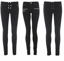 NEW Sexy Miss Sassy Super skinny hipster stretch black Jeans trousers size 6-14