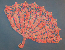 Hand Dyed Thread Crocheted Lacy Beaded Fan Doilies Doily